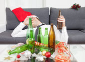 Drinking too much during Christmas time — Foto Stock