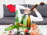 Drinking too much during Christmas time  — Стоковое фото