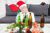 Drinking too much during Christmas time  — Zdjęcie stockowe