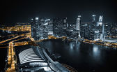 Aerial view of Singapore at night — 图库照片