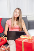 Thinking about the perfect gift — Stockfoto