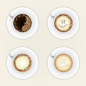 Top view of black coffee cup isolated on white background. Photo-realistic vector. — Stock Vector