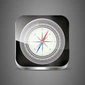 Glossy Compass app icon with windrose. Vector Illustration. EPS10 — Stock Vector