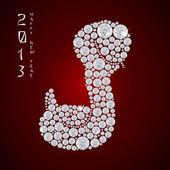 Year of the snake 2013, Vector illustration of seamless shiny diamond snake, eps 10 — Stock Vector