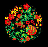 "Vector. Russian traditional ornament ""Hohloma"" . Illustration of traditional Russian ornament. eps 10 — Stock Vector"