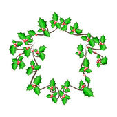 Christmas holly frame - vector background — Stock Vector
