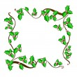 Christmas holly frame - vector background. — Stockvectorbeeld