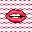 dolce coppia di labbra lucide vettoriale — Vettoriale Stock
