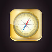 Glossy Compass app icon with windrose. Vector Illustration. — Wektor stockowy