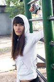 Brawny sport girl — Stock Photo