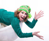 Funny surprised winter girl — Stock Photo