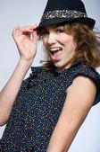 Fashion cute girl wearing hat — Stock Photo