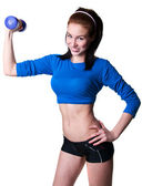 Brawny girl with dumbbell — Stock Photo