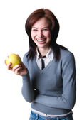 Smiling student with apple — Stock Photo