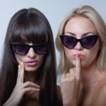 Cute girls in sunglasses — Stock Photo