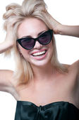 Funny happy girl with sun glasses — Stock Photo