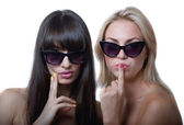 Funny girls in sun glasses — Stock Photo