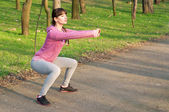 Squat exercises — Stock Photo