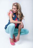 Bright fashionista woman — Stock Photo