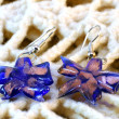 Handmade glass flower earrings — Stock Photo