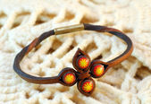 Handmade leather ethnic bracelet — Stock Photo