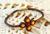 Handmade leather ethnic bracelet — Stock Photo
