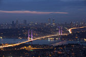 Bosphorus and bridge at night, Istanbul — Stock Photo