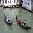 Tourists and gondolas in Venice, Italy — Stock Photo