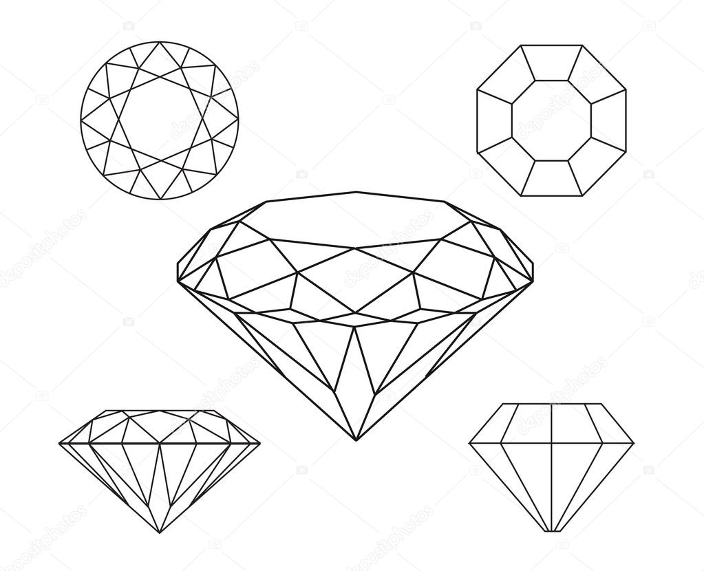 diamonds wireframe on white background  u2014 stock vector