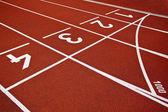 Athletics Start track lanes — Stock Photo