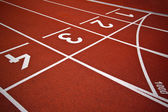 Athletics Start track lanes — Stock Photo