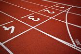 Atletica avvia corsie pista — Foto Stock
