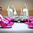 Schutte Wedding - bridal party shoes with rings — Stock Photo