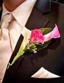 Schutte boda - flor en el ojal — Foto de Stock