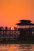 Sunset at U Bein bridge, Mandalay, Myanmar — Stock Photo