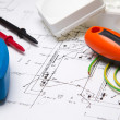Electrical instruments on blueprint — Stock Photo #17000197