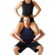 Young couple doing fitness exercise — Stock Photo