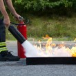 Instructor showwing fire extinguisher - Stock Photo