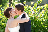 Bride and groom kissing — 图库照片