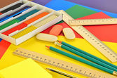 Assorted school supplies — Foto Stock