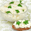 Fresh cottage cheese - Stock Photo