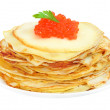 Stock Photo: Pancakes with red caviar on plate