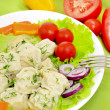 Dumplings with meat on a plate with colorful fresh vegetables — Stock Photo