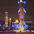 Stock Photo: Rostral columns in Petersburg, Russia.