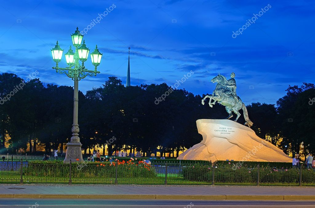 PETERSBURG, RUSSIA-JUNE 17: Bronze Horseman-monument to Peter I on the Senate Square on June 17, 2012 in Petersburg, Russia. Its height 10.4 m. The opening of the monument took place in 1782.  Stock Photo #20035431