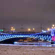 Trinity bridge with Christmas illumination in Petersburg, Russia — Stock Photo