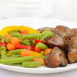 Boiled vegetables with chicken liver — Stock Photo #24553273