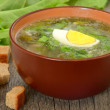 Stock Photo: Sorrel soup with egg