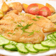 Fried fish fillet with vegetables — Stock Photo #33099381
