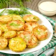 Fried zucchini with dill and garlic — Stock Photo #35570283